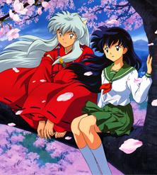 inuyasha e kagome sono seduti su un ramo di un albero - nerdface