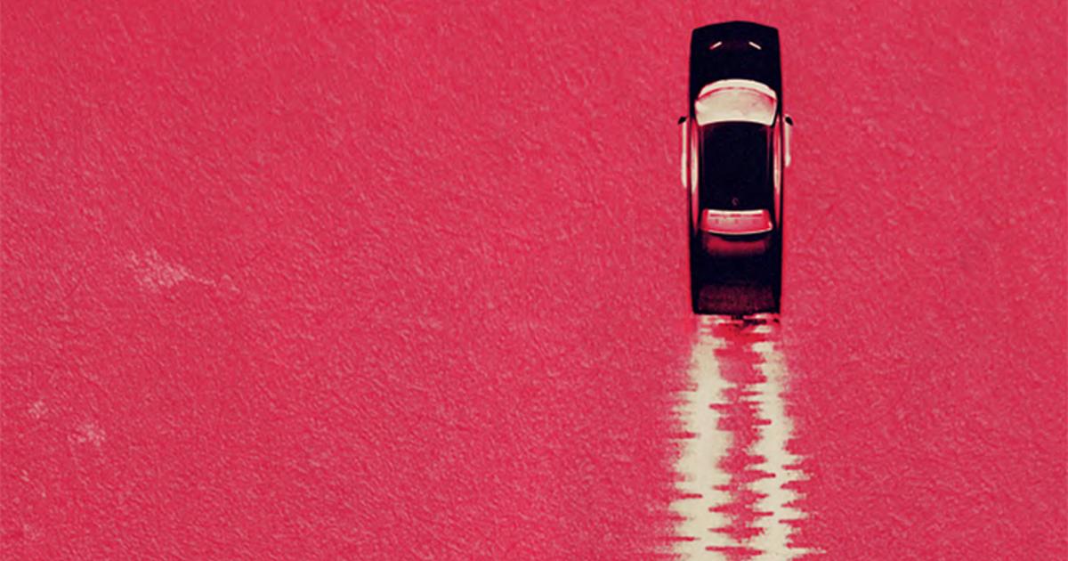 la key art di baby driver vede una macchina lasciare una scia che sembra il tracciato di una registrazione audio - nerdface