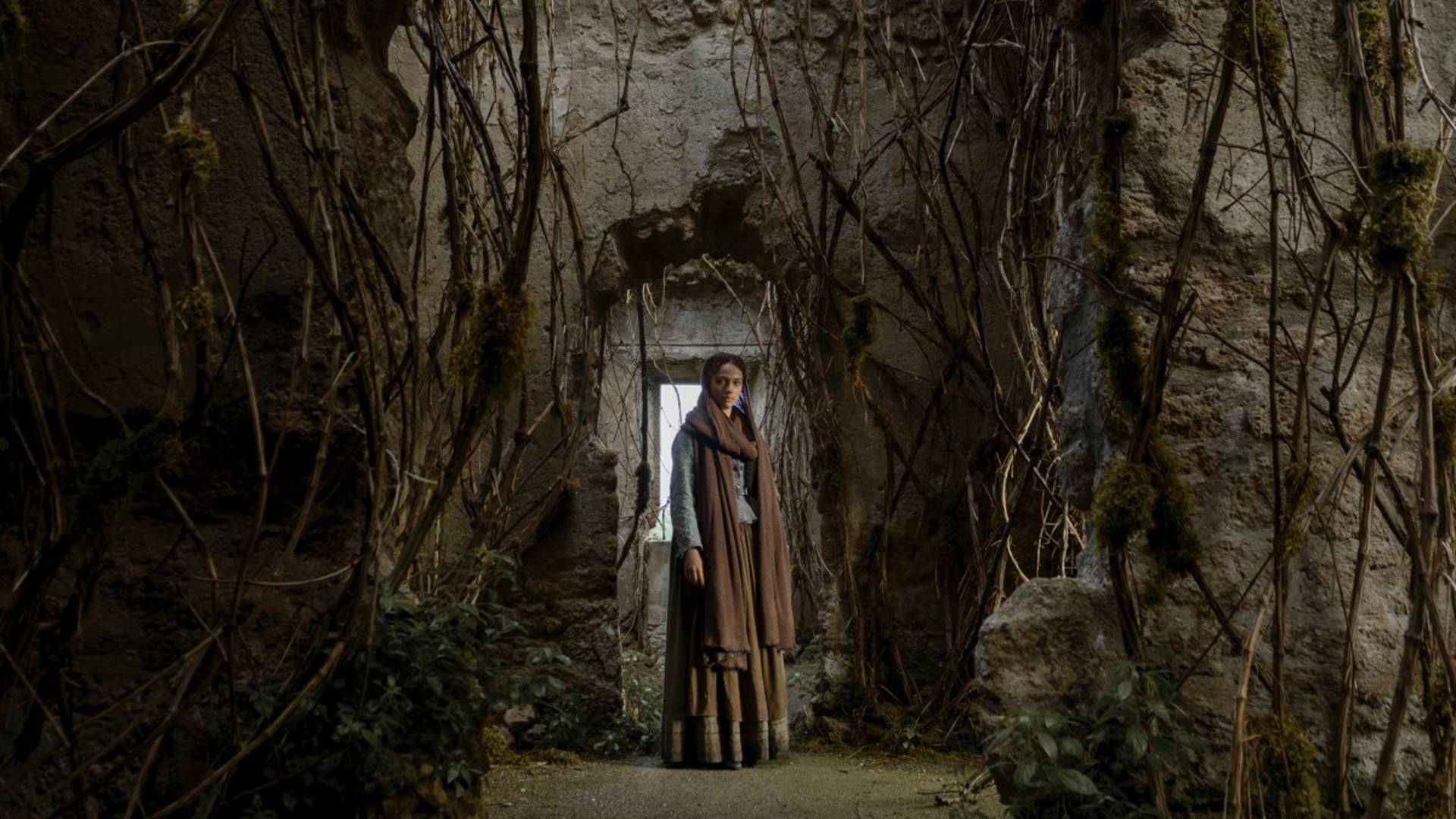 una donna vestita con una tunica marrone è all'ingresso di una grotta piena di radici - nerdface