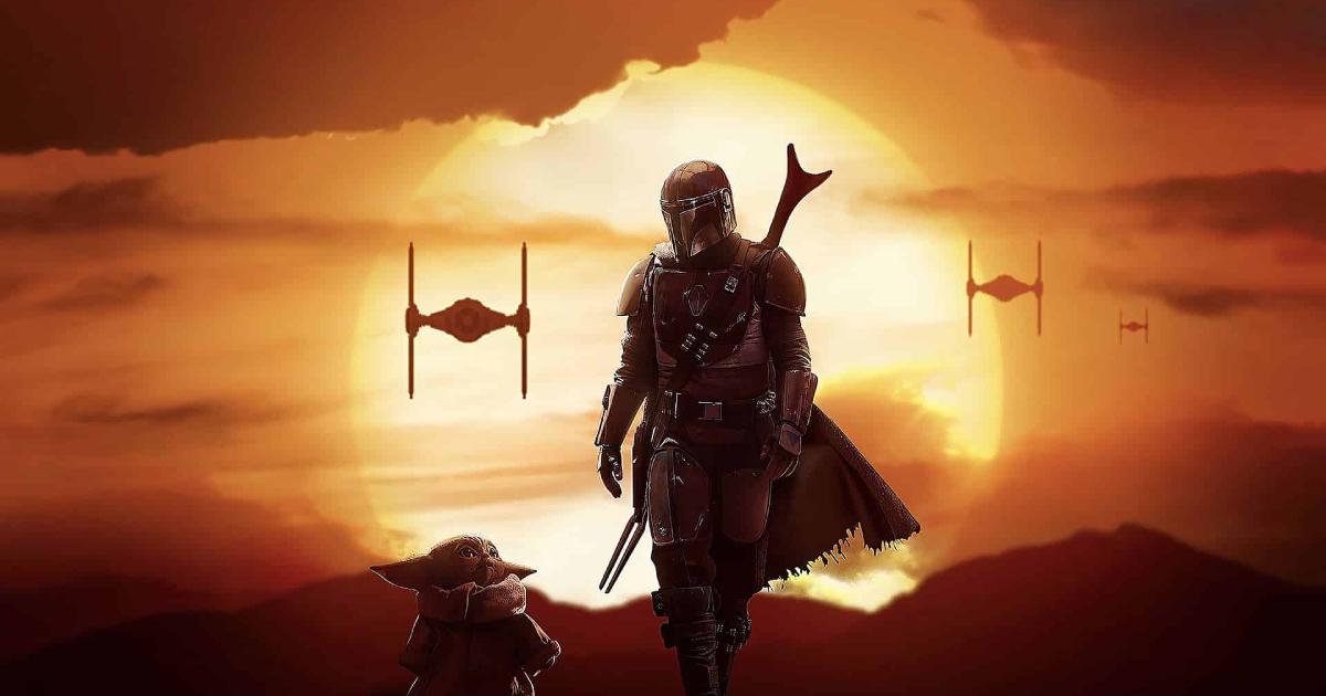 sul tramonto di un pianeta rosso, il mandaloriano e baby yoda camminano guardandosi mentre alcuni tie fighter si stanno avvicinando - nerdface