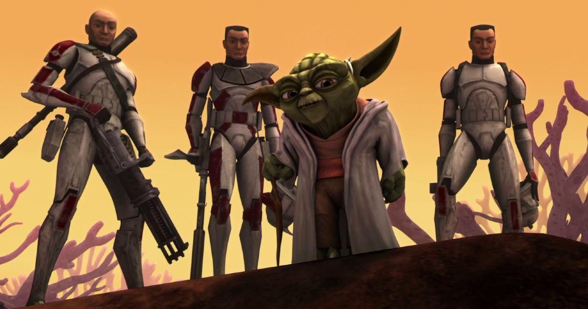 yoda guyarda fisso davanti a sè con dietro alcuni cloni - nerdface