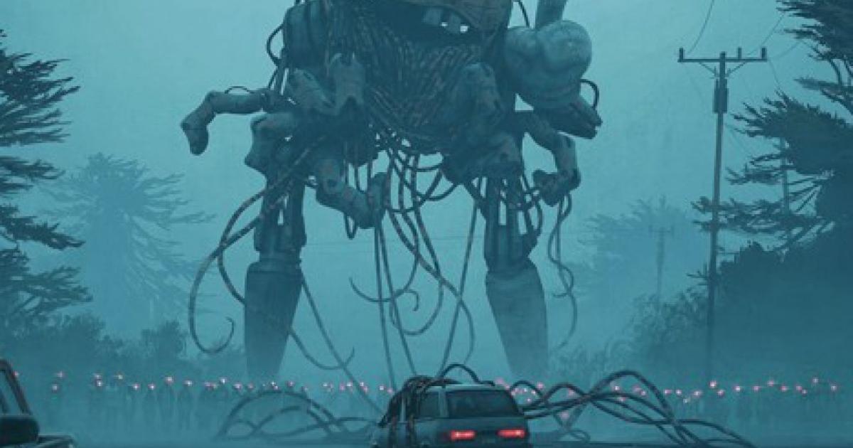 un'automobile è intricata in alcuni cavi che cadono da un enorme robot sopra di essa - nerdface