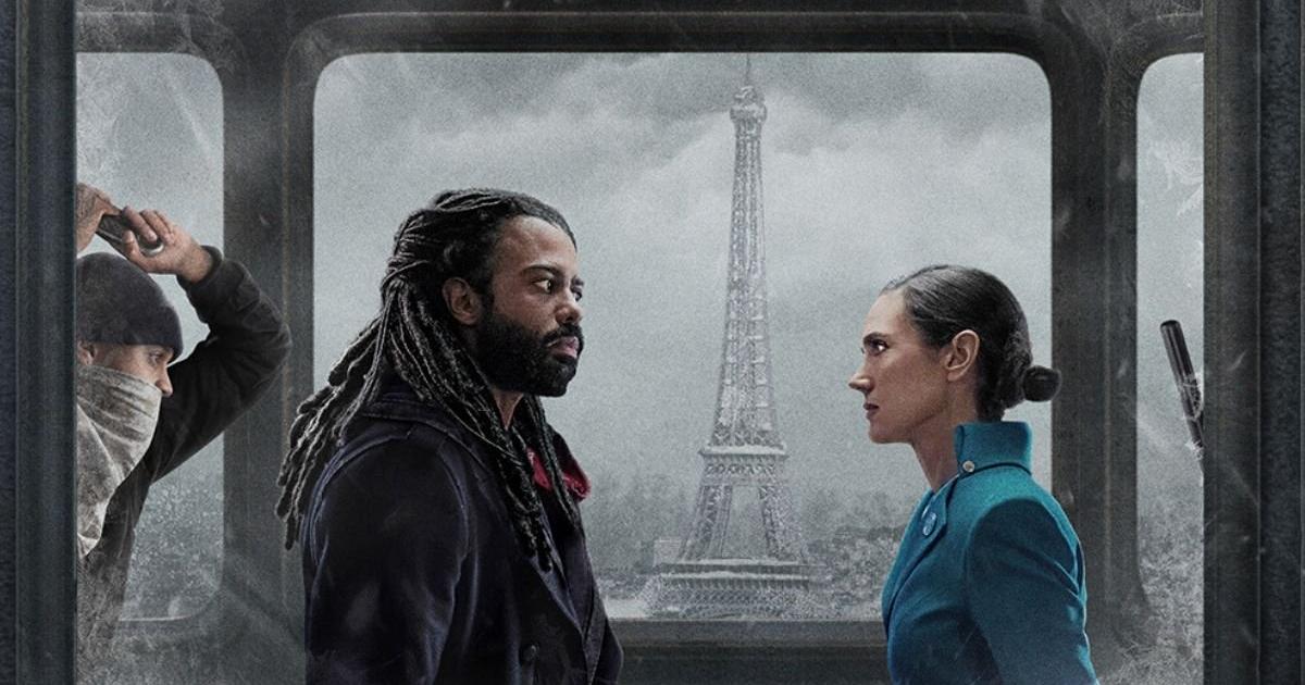 i due protagonisti di classe sociale diversa si fronteggiano mentre sullo sfondo appare una tour eiffel ghiacciata - nerdface
