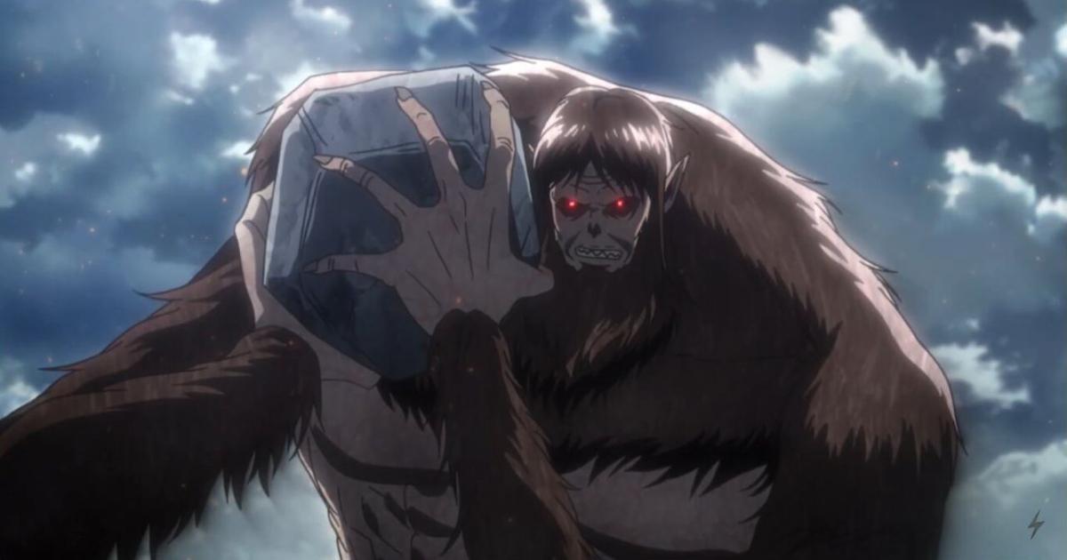 un gigante dagli occhi rossi sta per lanciare un grosso masso - nerdface