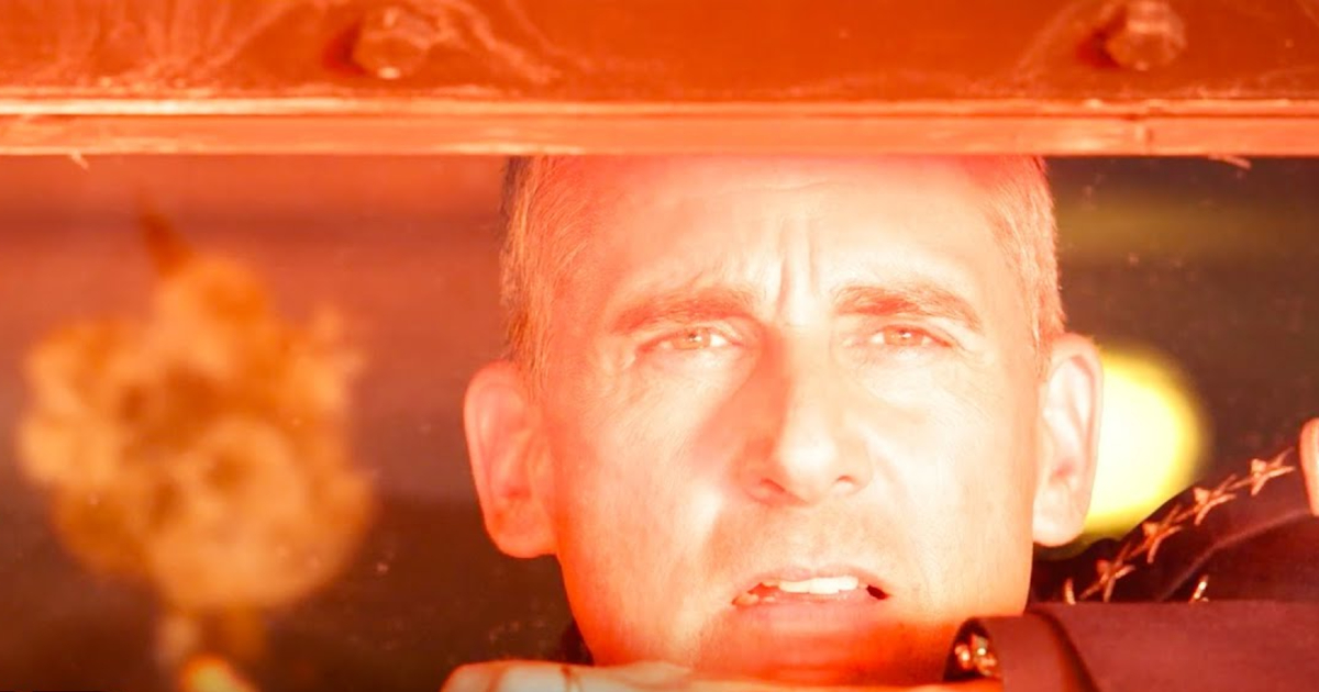 steve carell osserva un fungo atomico dal vetro di un bunker - nerdface