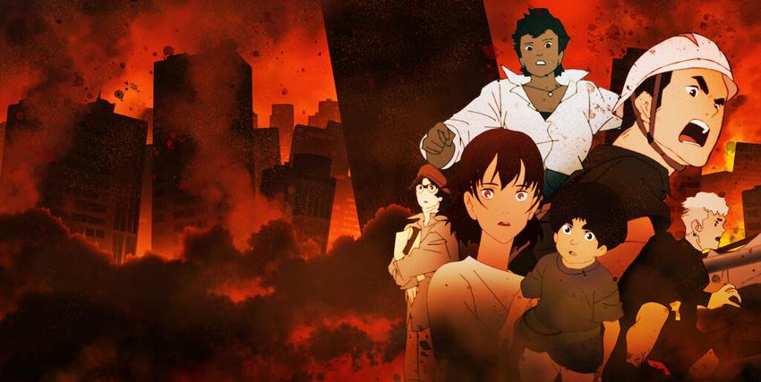 sullo sfondo di una tokyo distrutta, un patchwork dei volti dei protagonisti della serie anime - nerdface