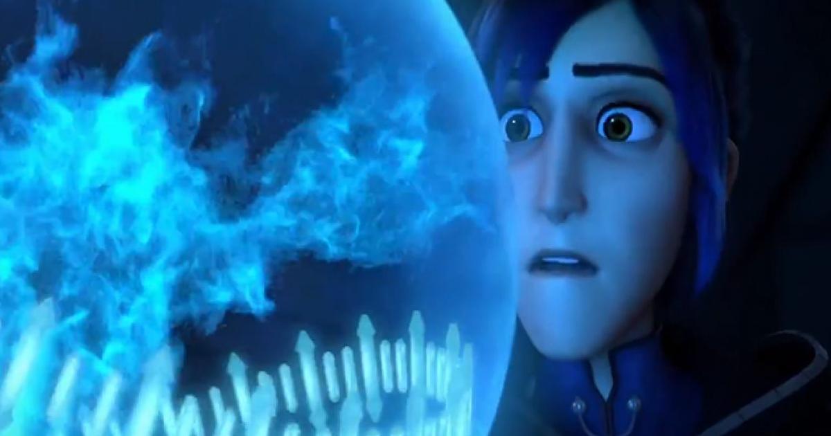 il giovane protagonista osserva stuopito una sfera d'energia blu - nerdface