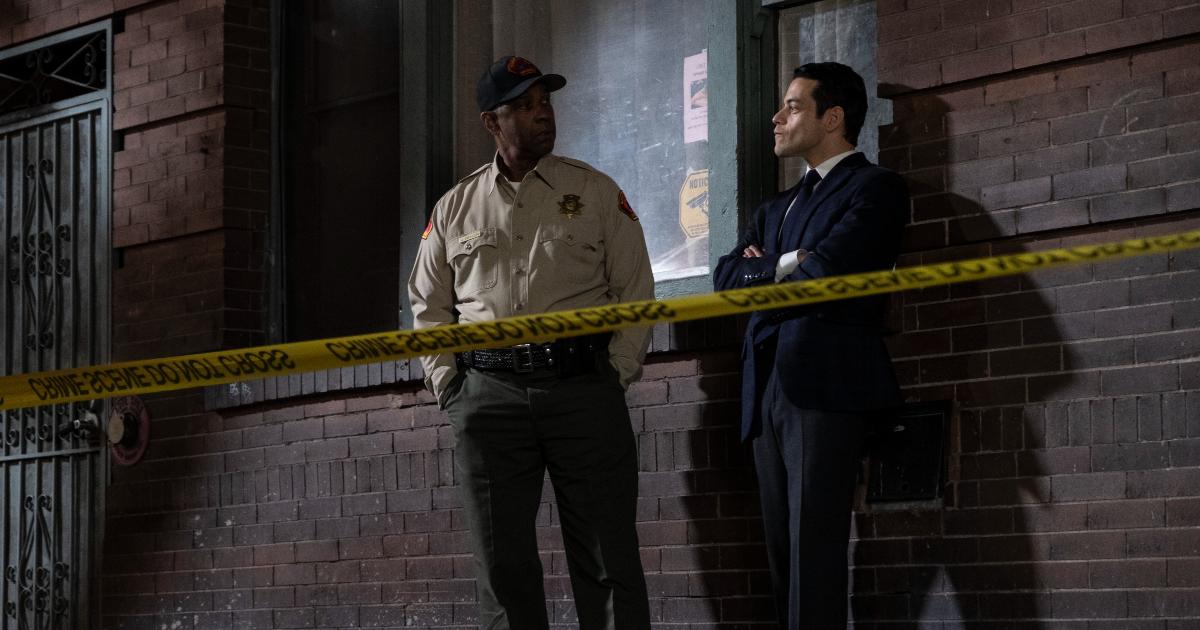 rami malek e denzel washington si guardano mentre sono sulla scena del crimine - nerdface