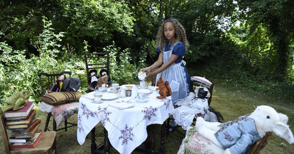 alice prepara una tavola in mezzo al bosco e di lato su una sedia c'è il peluche del bianconiglio - nerdface