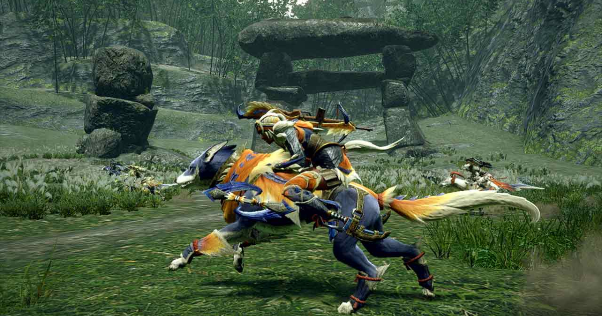 Un personaggio in groppa alla propria cavalcatura in Monster Hunter Rise - nerdface