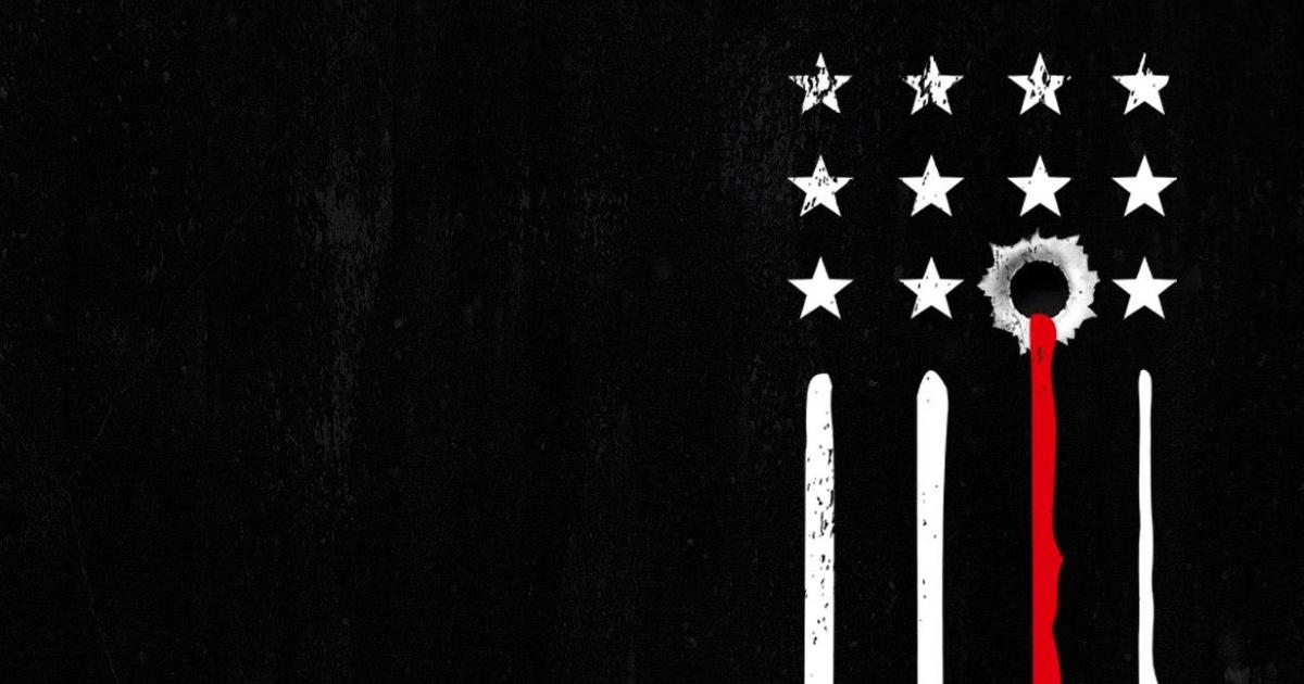 artwork del film american skin in cui una delle stelle della bandiera americana è un foro di proiettile da cui esce sangue - nerdface