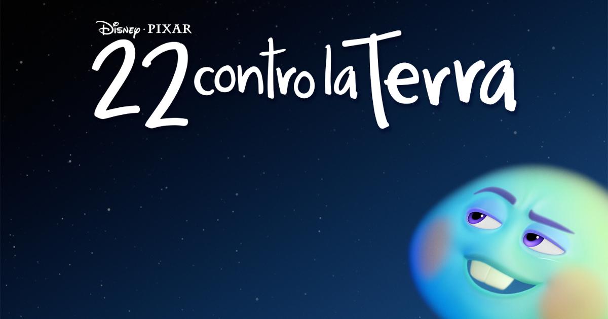 """""""22 contro la terra"""" di Disney Pixar. Una faccia tonda blu dall'espressione furba guarda in alto. Cosa vorrà?"""