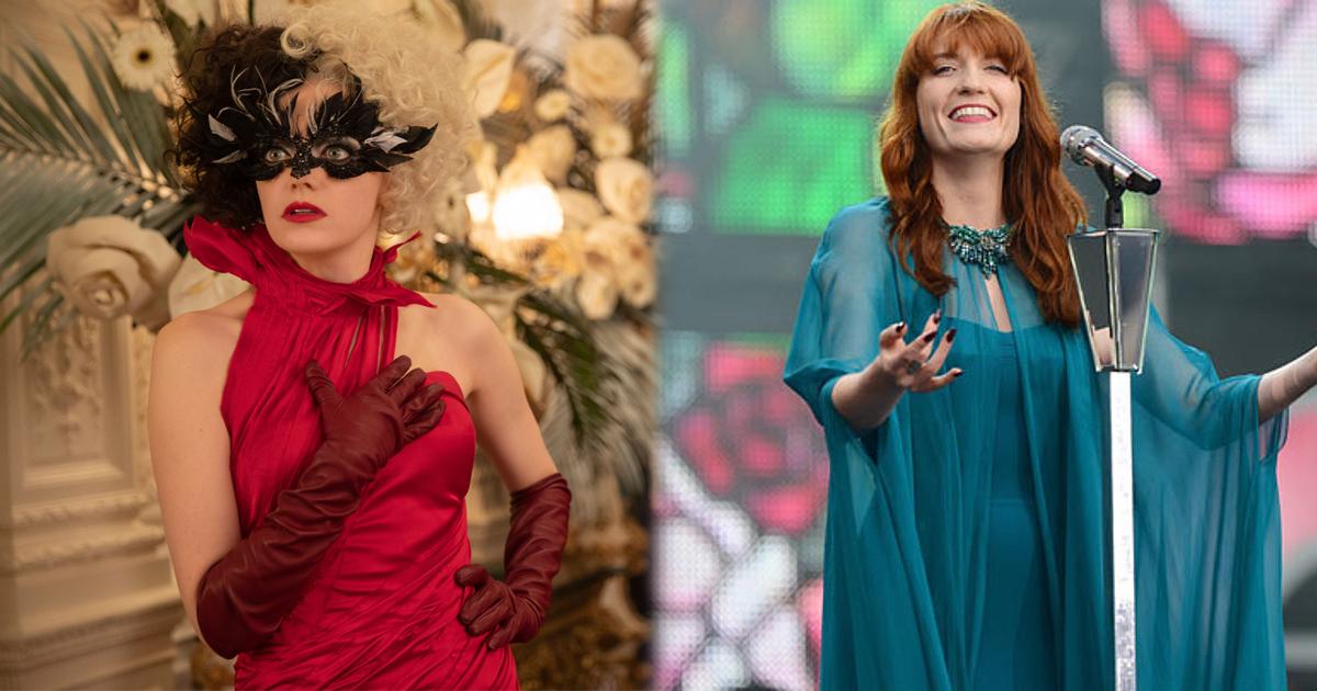 Alla destra la bella Crudelia in un vestito rosso. in contrasto con il viso angelico di Florence nel suo abito blu, sulla sinistra.