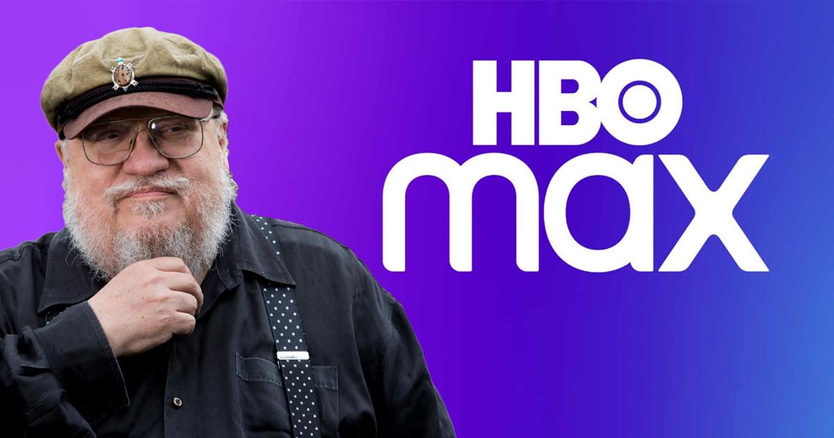 La faccia Simpatica di George R.R. Martin, con la barba bianca, gio occhiali e l'immancabile scoppola, accanto al logo di HBO MAX. Cosa bolle in pentola?