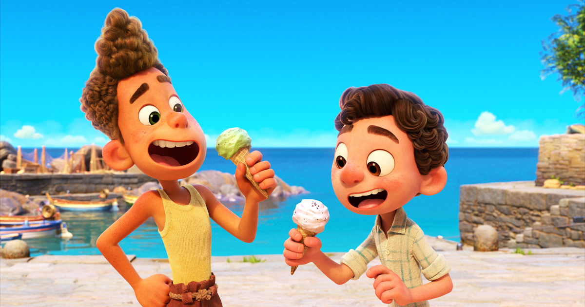Luca Teaser Trailer. Luca e il suo amico Alberto si godono un gelato con entusiasmo. Nerdface