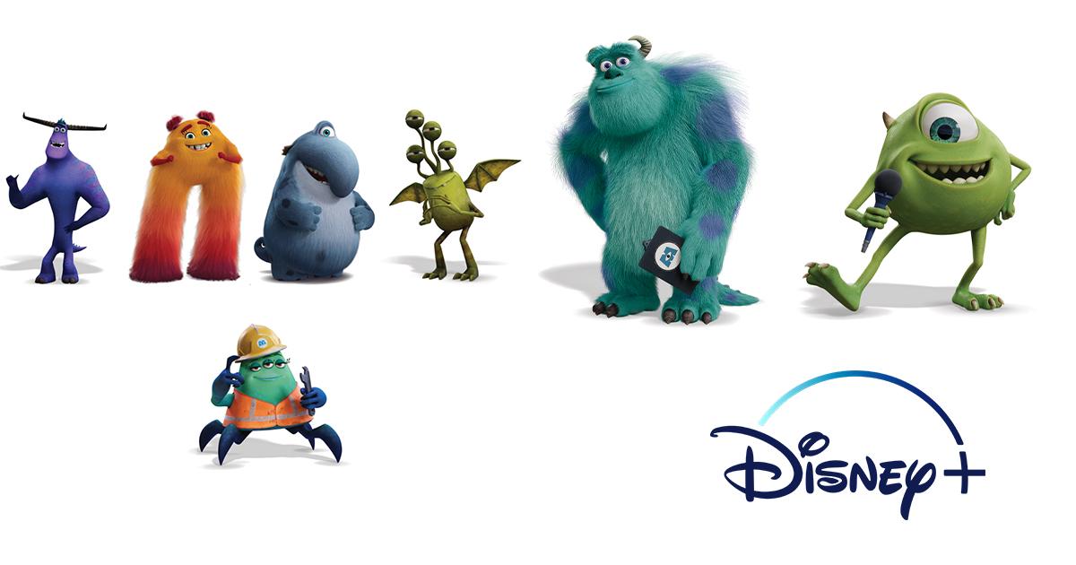 Monsters & Co. i vari personaggi intorno al logo Disney. Immancabili Mike, con il suo microfono e Sulley con la cartellina in mano.