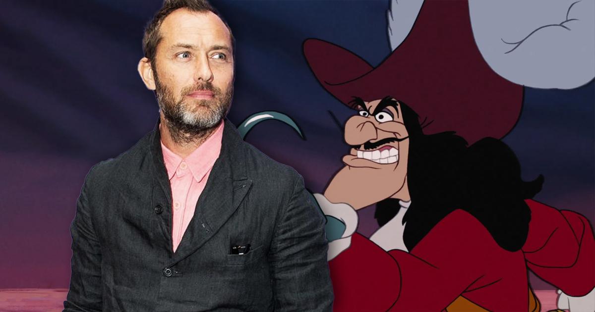 L'attore Jude Law a fianco del Capitan Uncino del Classico Disney.