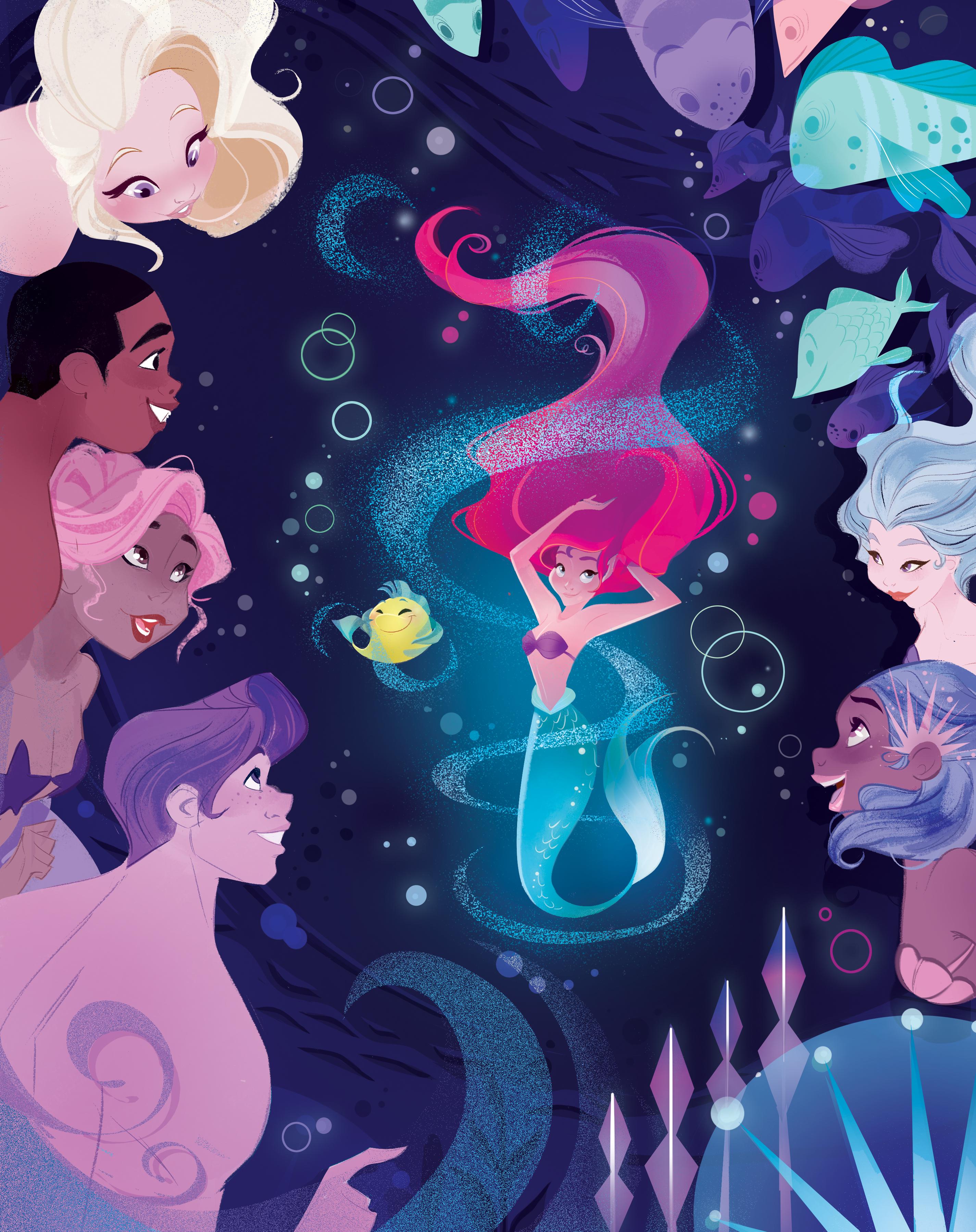 Ariel e il pesciolino Flounder danzano sotto lo sguardo estasiato di pesci, sirene e sireni.