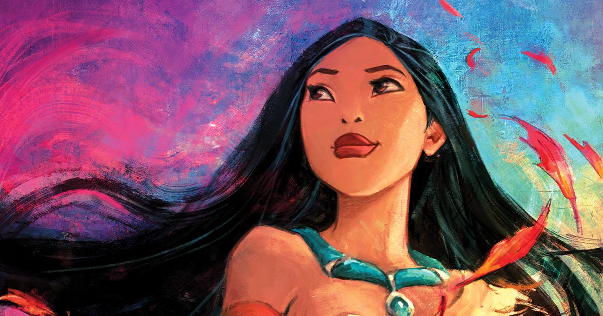 Pocahontas guarda l'orizzonte mentre il vento le accarezza i capelli.