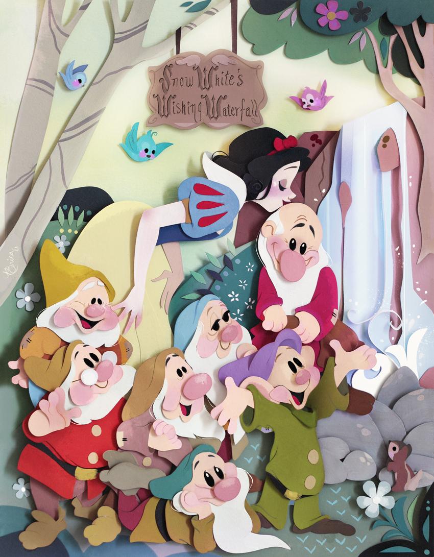 La gentilezza rappresentata da Biancaneve, che dà un bacio al nano Brontolo mentre gli altri nani la acclamano felici.