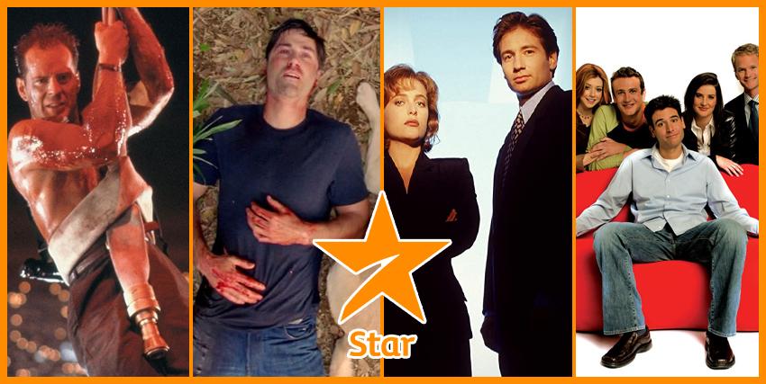i titoli offerti da Stars: a destra Bruce Willis (Die Hard), Lost, Murder e Scully di X-Files e il cast di How met your mother.