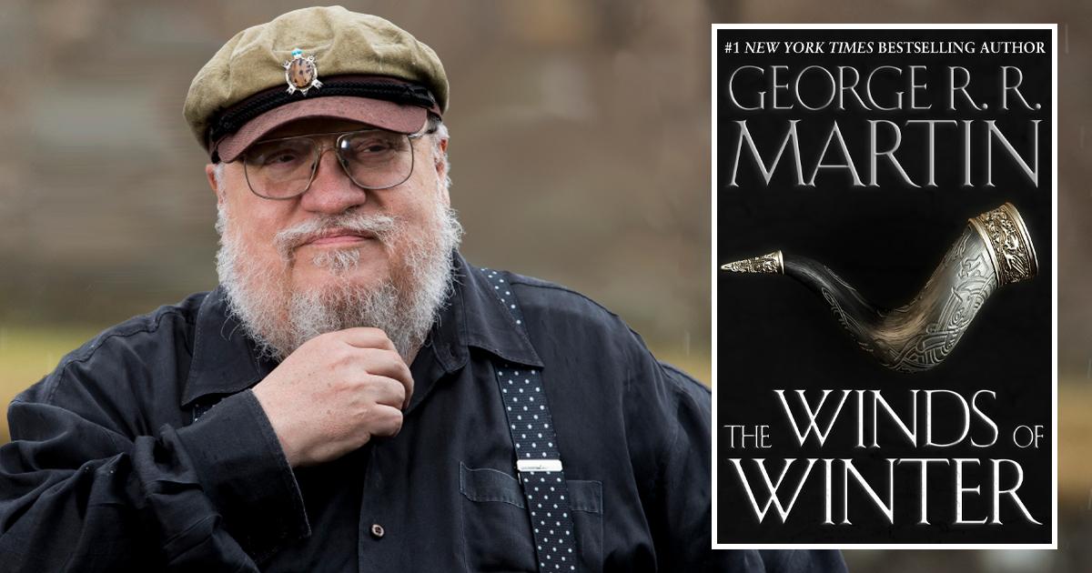 George Martin accanto alla copertina di The Winds of Winter. Nerdface