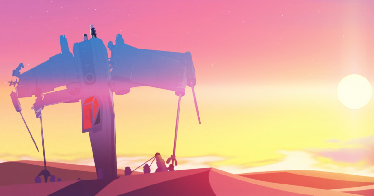 un'ala x della resistenza è imfilato do punta su un terreno sabbiosa, al tramonto - nerdface