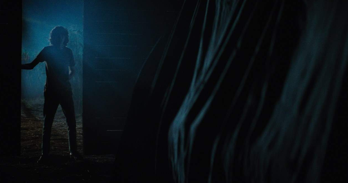 un ragazzo nellanotte si affaccia in un fienile e osserva qualcosa coperta da un telone - nerdface