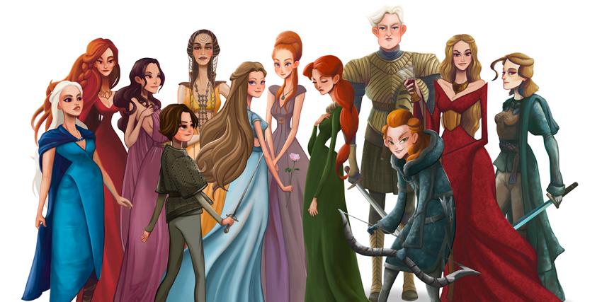 i personaggi femminili di game of thrones in un'llustrazione - nerdface