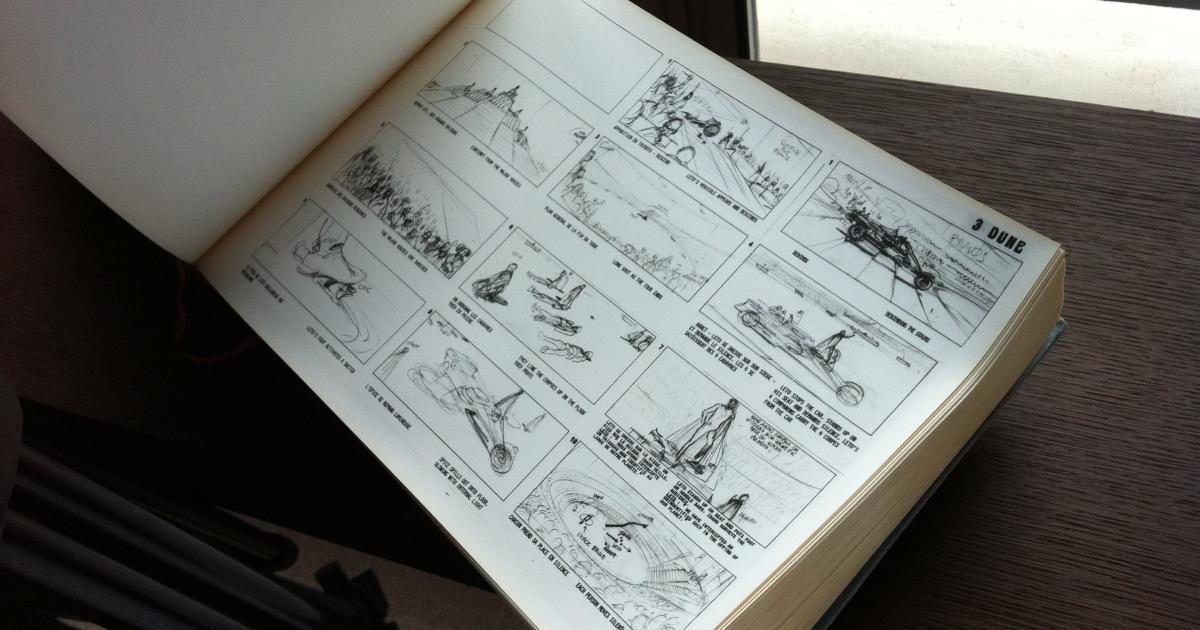 una pagina del voluminoso storyboard disegnato da moebius per il dune di jodorowsky - nerdface