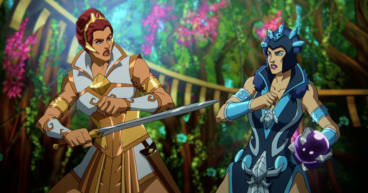teela ed evil-lyn si stanno affrontando: vinceranno le armi o la magia? - nerdface