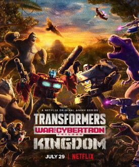 il poster ufficiale di transformers war for cybertron kingdom mostra le quattro fazioni in lotta, autobot, decepticon, maximal e predacon - nerdface