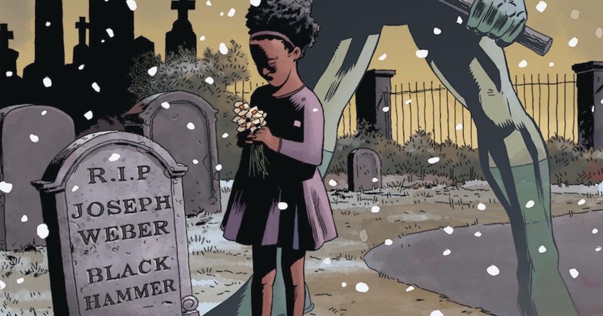 ragazza di colore porta i fiori sulla tomba di Black Hammer - nerdface