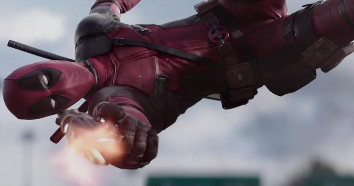 Deadpool in tuffo mentre spara - nerdface