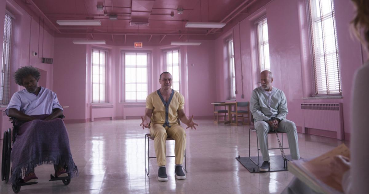 Bruce Willis, Samuel L. Jackson e James McAvoy nel film Glass - nerdface