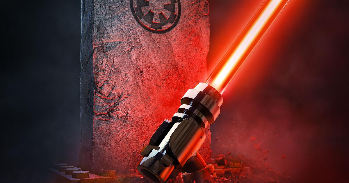 una spada laser rossa esce dalla terra davanto una lapide col simbolo dell'impero - nerdface