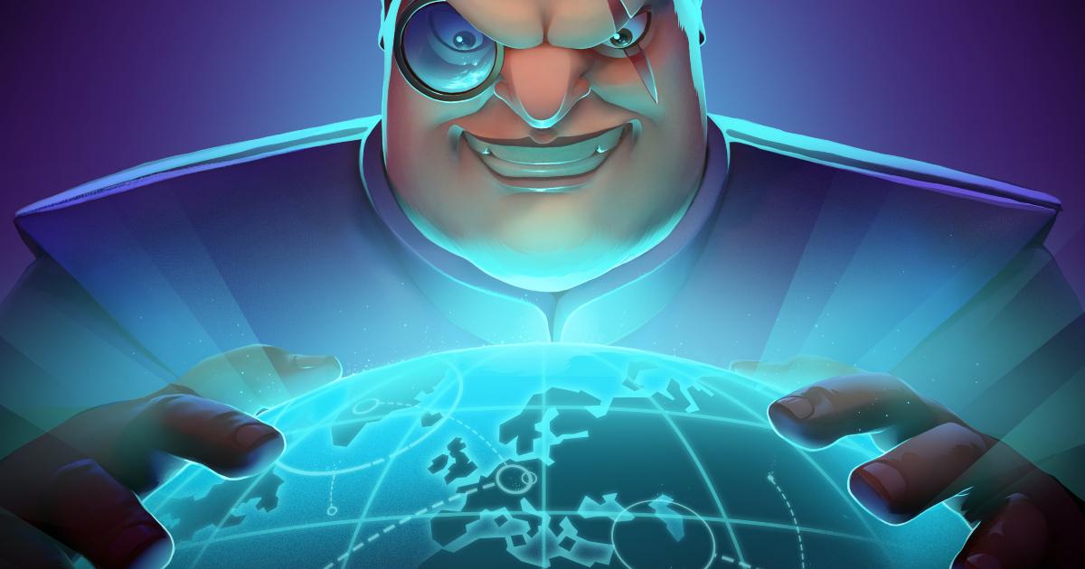 la key art di evil genius 2 mostra un capo della spectre qualunque che apre le mani su un mappamondo digitale - nerdface