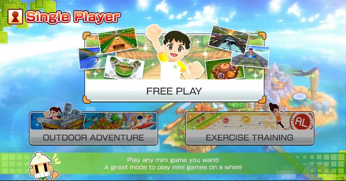 la schermata di scelta dei mini giochi di family trainer - nerdface