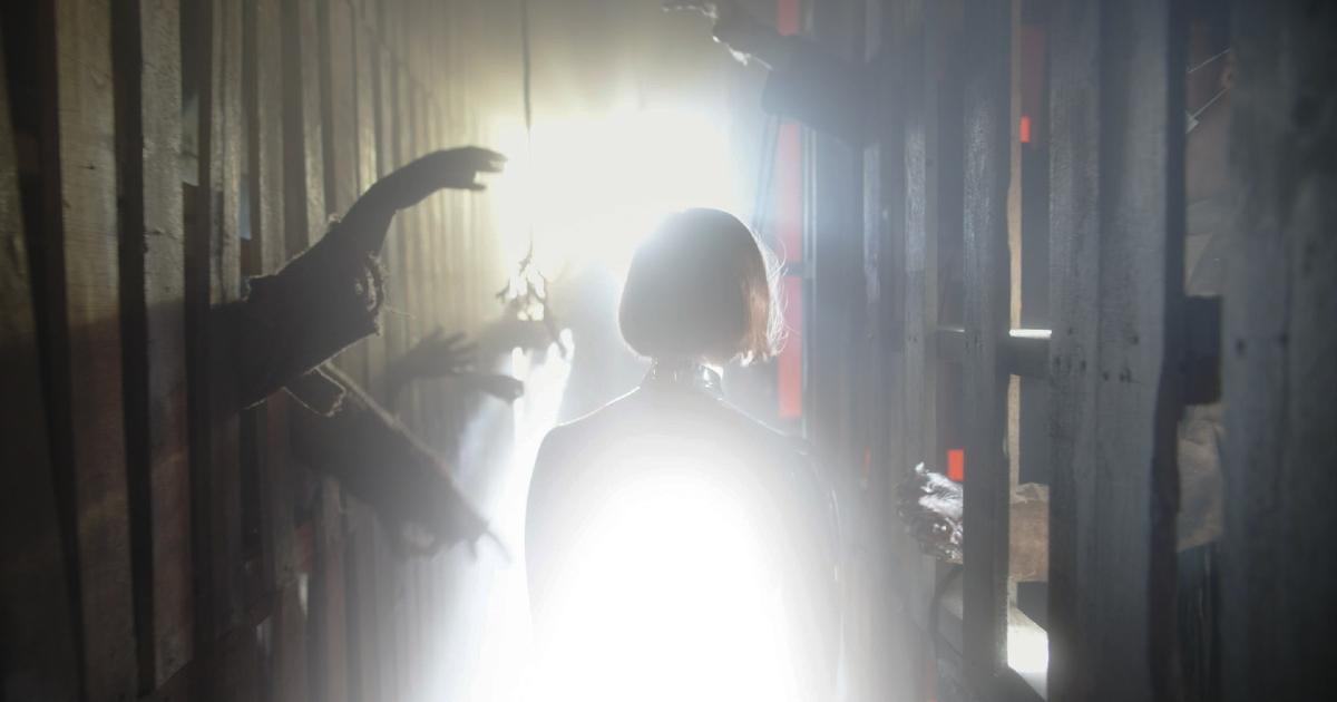 una ragazza cammina in un corridoio pieno di luce e dalle pareti escono delle mani che cercano di toccarla - nerdface