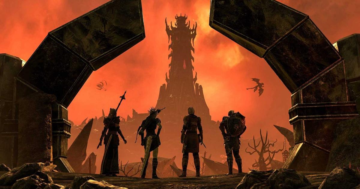 quattro avventurieri in cerca di guai sono di fronte a un'alta torre - nerdface