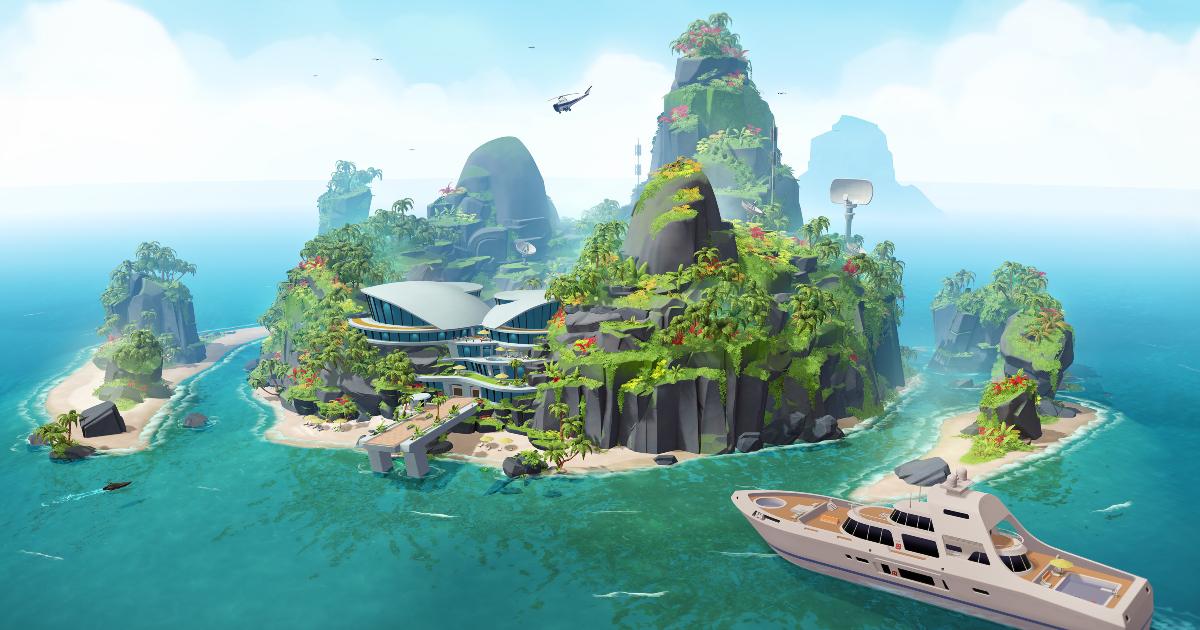 l'isola tropicale tipica per una base di un malvagio - nerdface