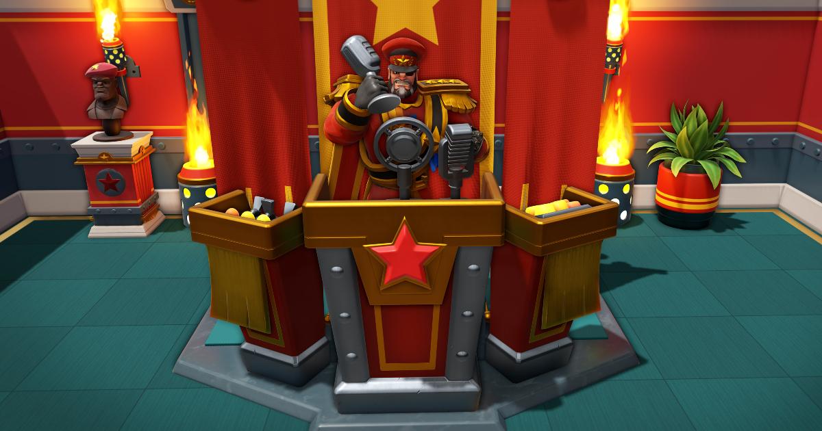 un dittatore dalle fattezze satiriche di un qualsiasi despota comunista è su un podio con tanto di stella rossa - nerdface