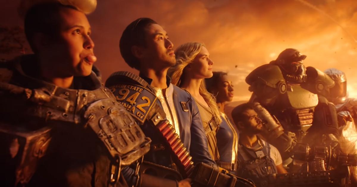 una swerie di personaggi di fallout 76 guarda l'esplosione atomica - nerdface