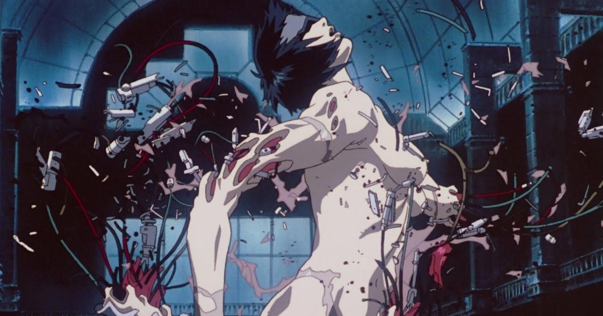 un cyborg donna si sta spaccando in molti pezzi mentre è bendata - nerdface