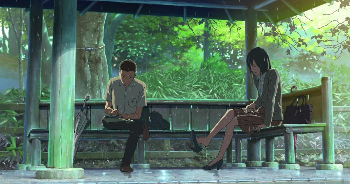 un uomo e una donna sono seduti su una panchina immersa nel verde - nerdface
