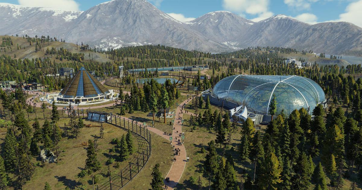 una veduta aerea del parco di jurassic wolrd costruito nel gioco - nerdface
