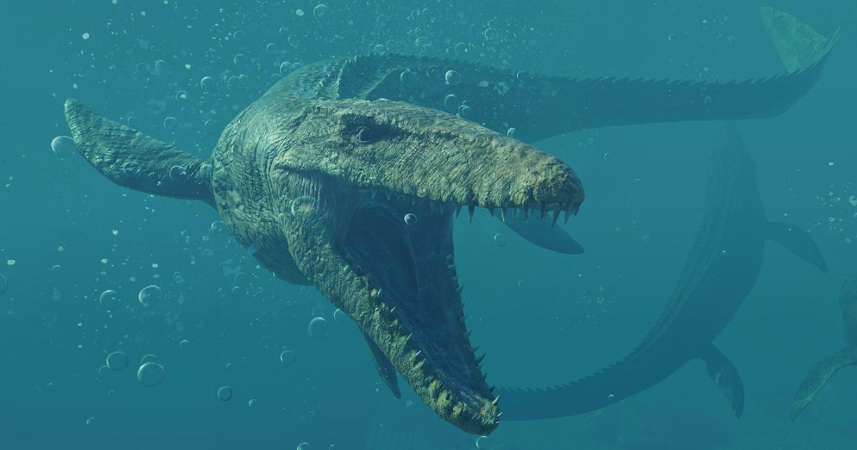un dinosauro marinop spalanca le fauci - nerdface
