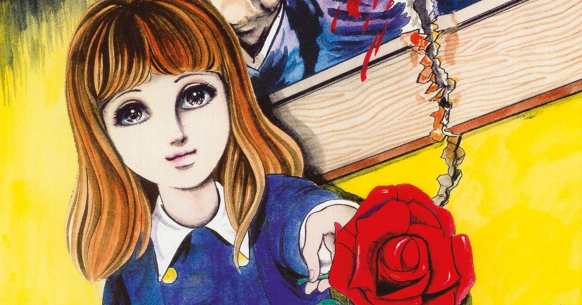 la protagonista porge una rosa, che sembra aver strappato da una quadro sanguinante - nerdface