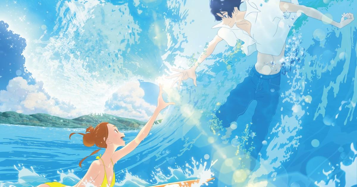 una ragazza su una tavola da surf sfiora la mano di un ragazzo ben vestito immerso in un'onda del mare - nerdface