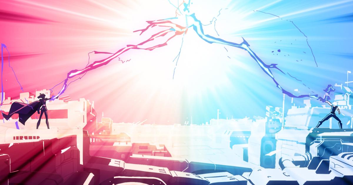 un jedi e un sith circondati di energia azzurra e rossa si scagliano fulmini da due postazioni opposte - nerdface